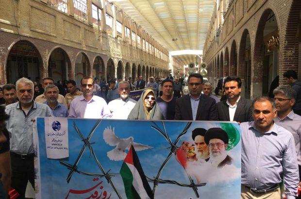 حضور مدیر وکارکنان مخابرات منطقه خوزستان در مراسم راهپیمایی روزجهانی قدس